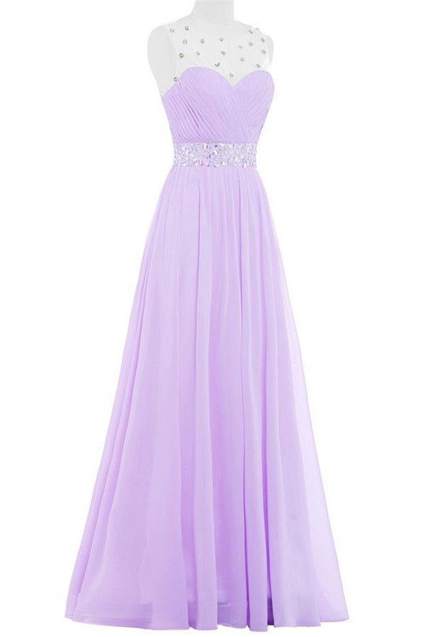 Simple Violet Chiffon Beading Cheap Elegant Long High Low Prom Dresses K741