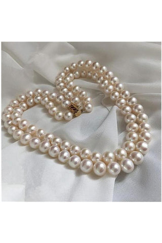 Handmade Classy Double Loop Pearl Necklace with 14K Gold Clip P24