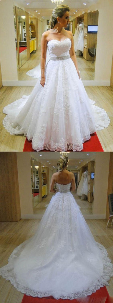 Sweetheart Strapless A-line Beading Belt Lace Wedding Dress Bridal Gown OKE22