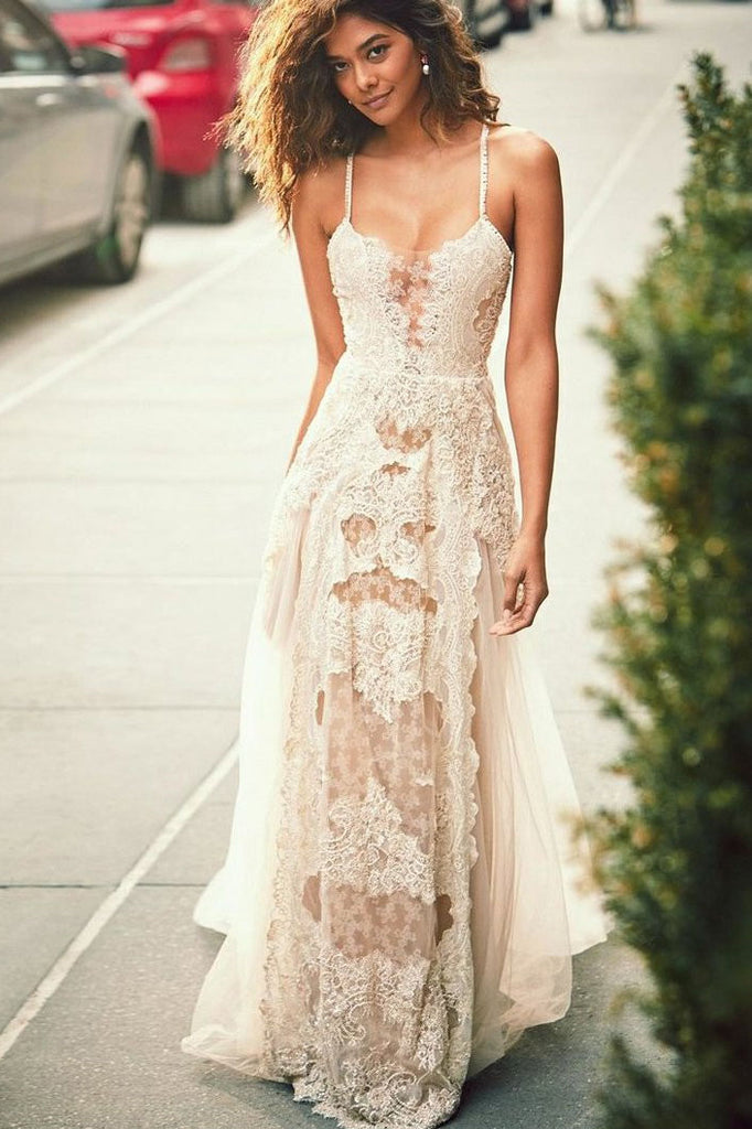 A-Line Spaghetti Straps Lace Beach Wedding Dress, Simple Boho Wedding Gown OKH84