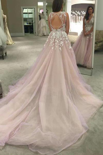 Spaghetti Straps V-neck Long Tulle Wedding Dress Prom Dress with Appliques OK547