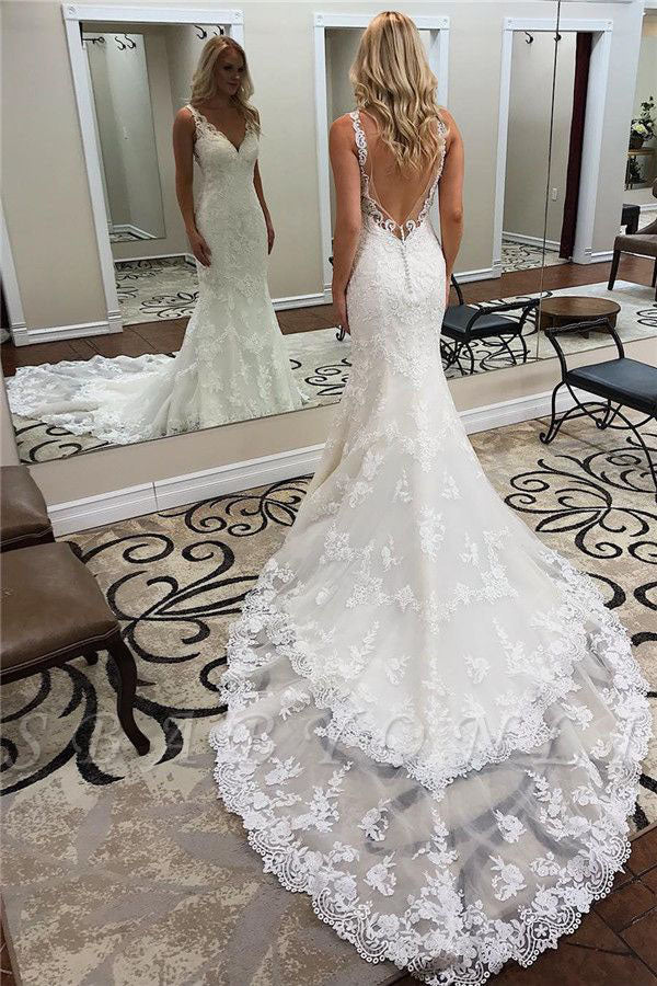 Glamorous Straps V-Neck Backless Lace Mermaid Wedding Dresses OKU38