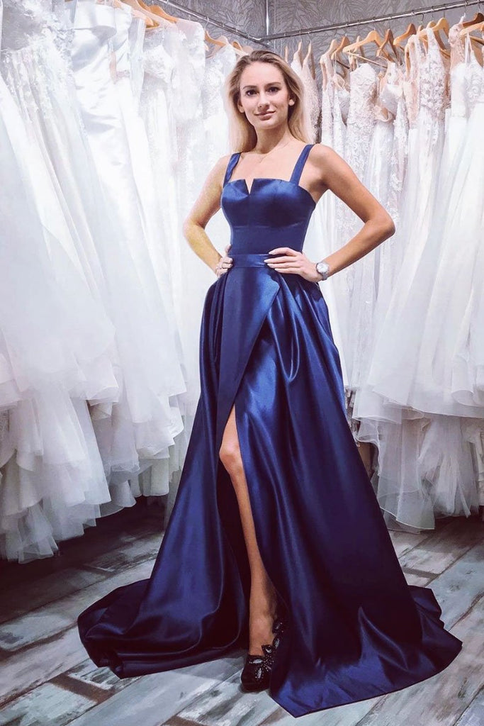 Simple Satin Blue Long Prom Dress A Line Straps Evening Dress OKQ51