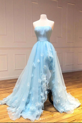 Sky Blue Strapless Tulle Long Prom Dress A Line Evening Dress With Slit OKS623