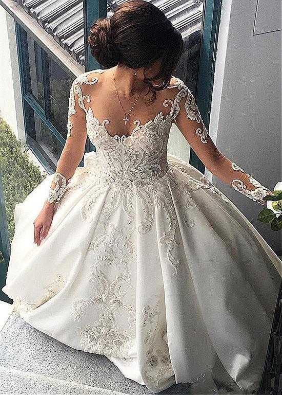 Attractive Satin Sheer Jewel Neckline Long Sleeves Wedding Dresses With Lace Appliques OK869