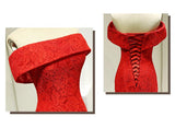 Red Long Lace Elegant Off Shoulder Mermaid High-Low Lace Up Prom Dresses OK484