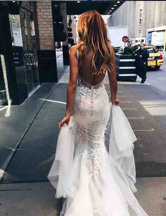 Sexy Mermaid Backless Long Tulle Wedding Dresses,White Beidal Dress 2017 OK439