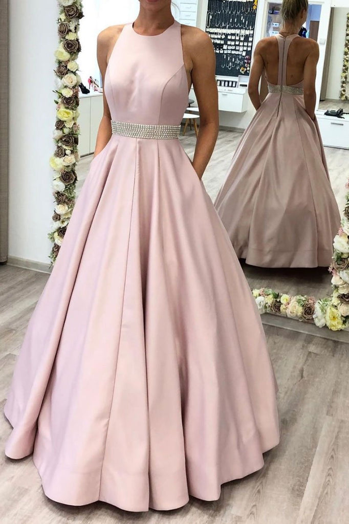 A Line Pink Beading Satin Long Prom Dress With Pockets OKS61