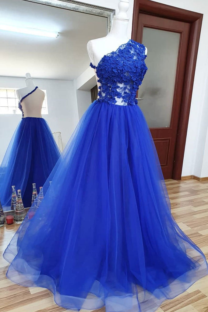 A Line Tulle Lace Long Prom Dress Royal Blue Formal Evening Dress OKQ36