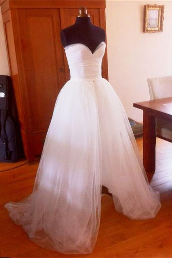 Simple White Tulle Strapless Long Elegant Cheap Plus Size Wedding Dresses W21