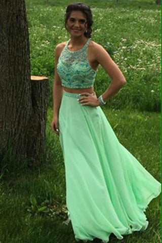 Green Chiffon Beaded Two Pieces Backless A-line Prom Dresses K676