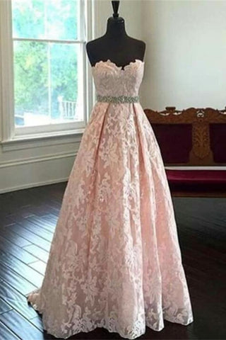 Sweetheart Lace Beading Long A-line Pink Handmade Cheap Prom Dresses K691