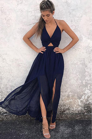 A-Line Prom Dresses,Halter Prom Dresses,Floor-Length Prom Dress,Backless Prom Dresses,Navy-Blue Prom Dresses,Chiffon Prom Dress,Prom Dress