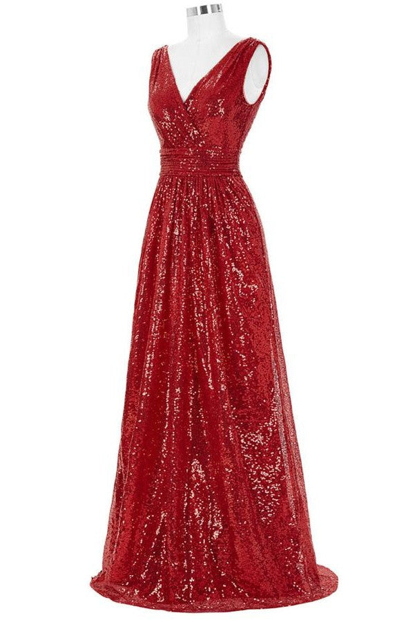 Red Sparkly V-neck Long A-line Backless Cheap Plus Size Prom Dresses K742