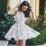 A-Line Floral V-Neck Prom Dresses,Short White Tulle Homecoming Dress with Appliques OK419