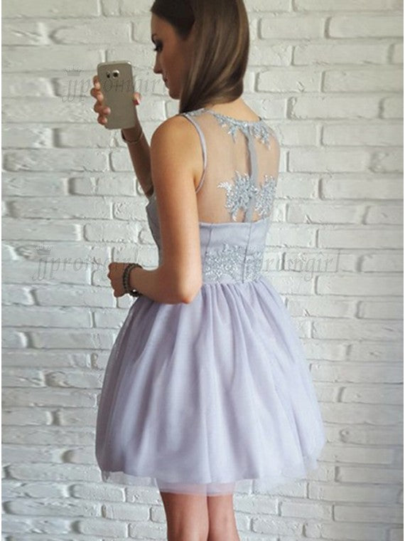 A-Line V-Neck Short Lilac Tulle Short Homecoming Dress with Lace OK521