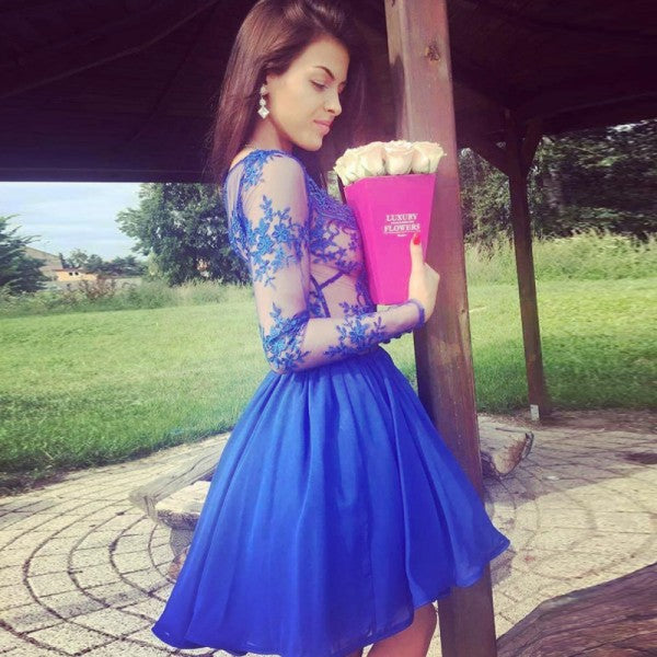 A-Line V-Neck Long Sleeves See Through Royal Blue Zipper Short Homecoming Dress OK479