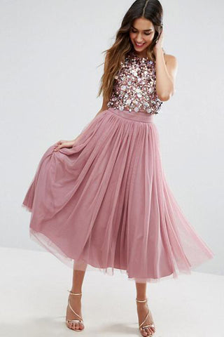 Jewel Neck Tea Length Dusty Rose A Line Homecoming Dress OKO24
