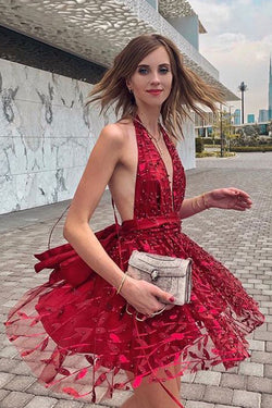 Plunging Neck Red Mini Party Dress with Ribbon,Short Homecoming Dresses OKN34
