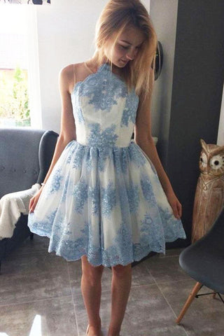 Halter A Line Lace Appliques Short Sky Blue Homecoming Dress OKO26