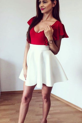 Deep V-Neck Sleeveless Off White Satin Short Homecoming Dress With Red Top OKD42