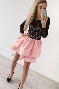 A-Line Jewel Long Sleeves Pink Short Homecoming Dress with Black Lace OKD20