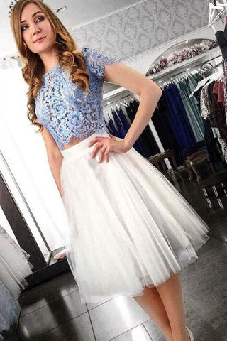 Two Piece Blue Lace Top Short Sleeves Tulle Homecoming Dresses OKD38