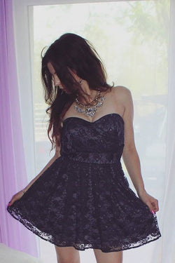 Sweetheart A-Line Lace Short Homecoming Dress,Graduation Dresses OKD23