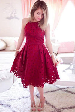 Halter Lace Knee Length Red A Line Homecoming Dress OKO28
