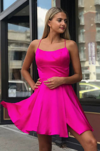 Fancy Spaghetti Straps Fuchsia Above Knee Split Homecoming Dress OKO34