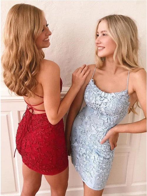 Chic Tight Short Lace Criss-Cross Back Prom Homecoming Dress OKO39