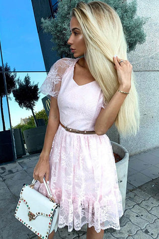V-neck Short Sleeves Pink Lace Homecoming Party Dress with Belt OKO67