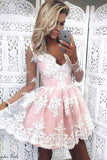 Cute Homecoming Dresses,A Line Homecoming Dresses,Lace Homecoming Dresses,Short Prom Dresses,Lace Prom Dresses,Pink Prom Dress For Teens,Graduation Party Dresses,Sweet 16 Dresses,Long Sleeves Homecoming Dresses