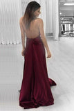Simple Burgundy Plus Size Cheap Long A-line Handmade V-neck Prom Dresses K754