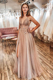 A Line Tulle V Neck Applqiues Prom Dresses With Slit OKQ3