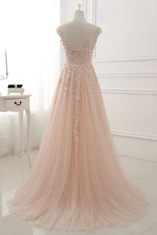 Round Neck Lace Appliques Prom Dresses,Tulle A Line Evening Dress OK427