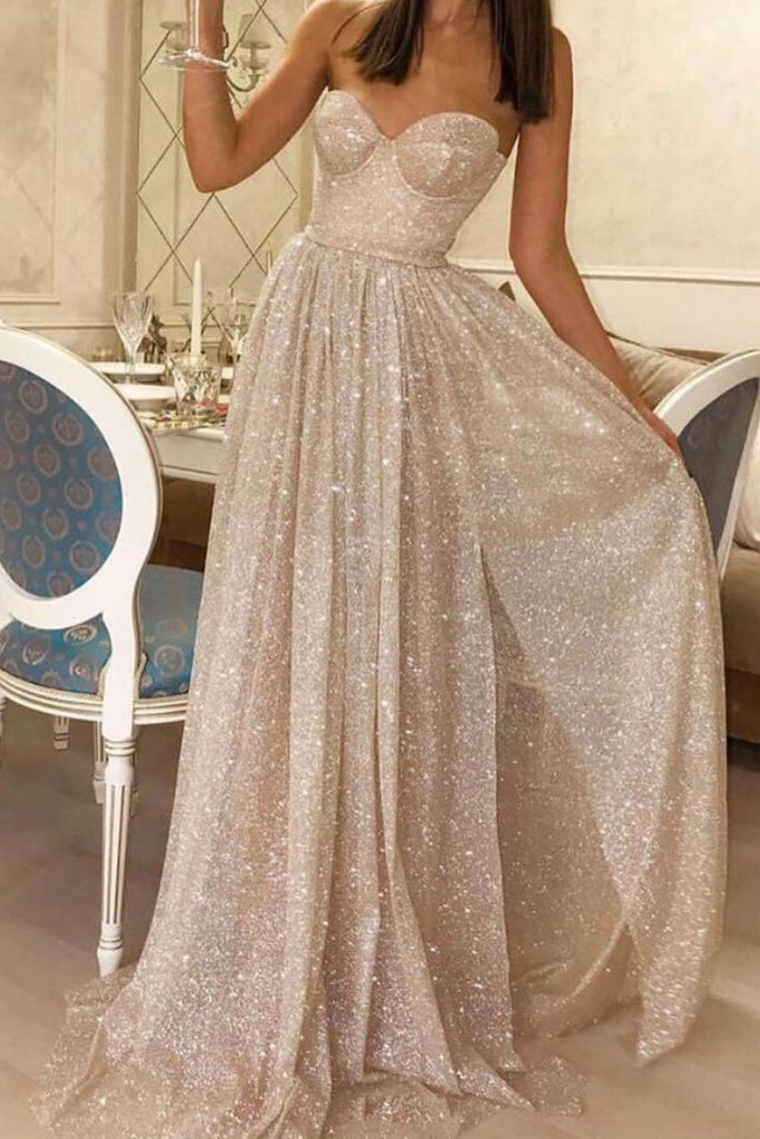 Sweetheart Sequin Long A Line Prom Dresses Cheap Evening Dress OKQ35