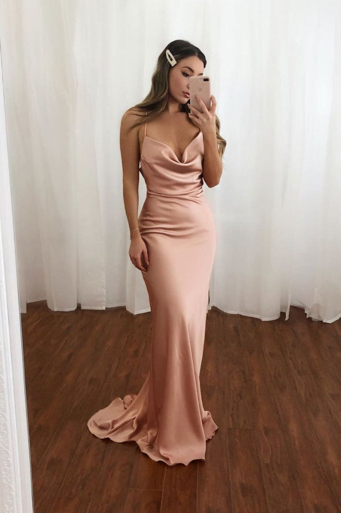 Pink Spaghetti Straps Mermaid Long Prom Dress Simple Evening Dress OKQ34
