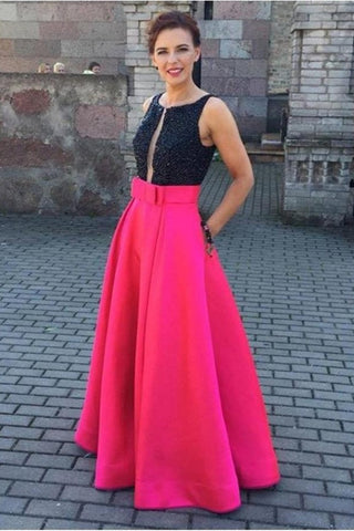 Black Top Red Skirt Long Satin Beading A-line Pretty Party Dresses Prom Dresses K756