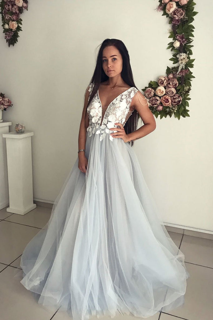 A Line V Neck Tulle Long Appliques Prom Dress, Evening Gown OKP80