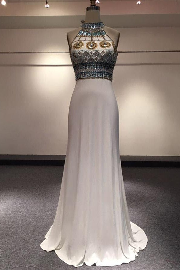 White Halter Beaded Two Pieces Long Mermaid Prom Dresses K714