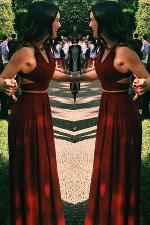 Charming Two Pieces Long A-line Burgundy Beauty Prom Dresses K738