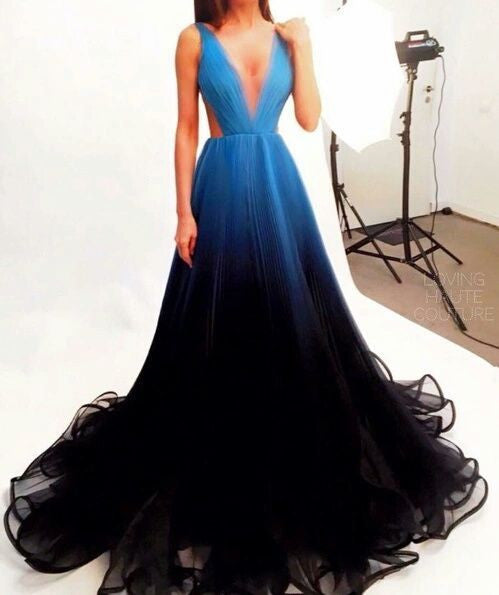 2017 Black Blue Gradient Tulle Long Evening Party Dress,A Line V-neck Prom Dresses OK245