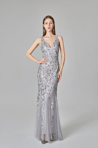 Mermaid Sexy V neck Long Prom Dresses, Cheap Formal Dress XU90803