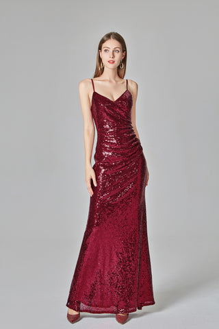 Burgundy Sequins Sheath Spaghetti Straps Prom Dresses XU90811