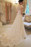 Cap Sleeve Lace A Line Long Affordable Wedding Dresses OKC70
