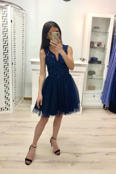 Dark Blue A Line V Neck Prom Dresses, Tulle Short Homecoming Dress OKJ21