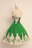 Cap Sleeves Lovely Green Unique Applique Short Homecoming/Prom Dresses OK346