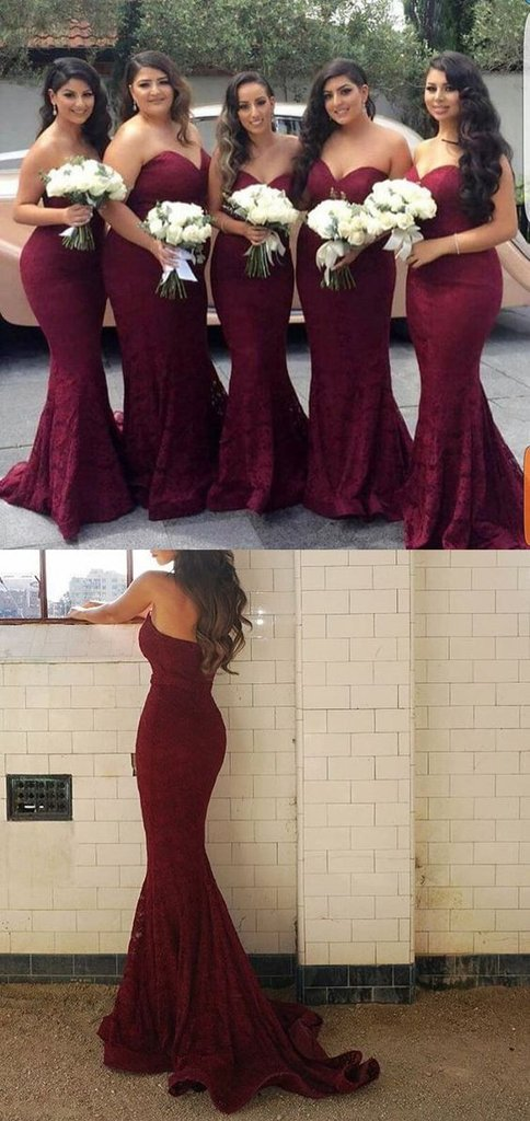 Elegant Sweetheart Strapless Burgundy Lace Mermaid Cheap Long Bridesmaid Dresses OK443