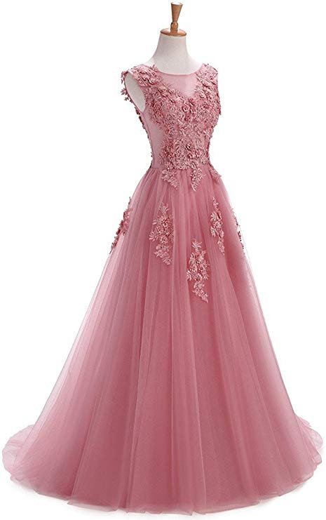 A Line Round Neck Lace Appliques Floor Length Prom Dresses OKR11